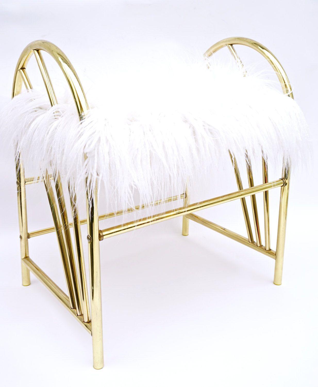 Glamorous hollywood regency gold metal white faux fur vanity glamorous hollywood regency gold metal white faux fur vanity bench vintage boudoir stool geotapseo Gallery