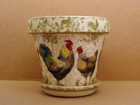 artesanía: macetas de barro cocido pintadas al decoupage   craft