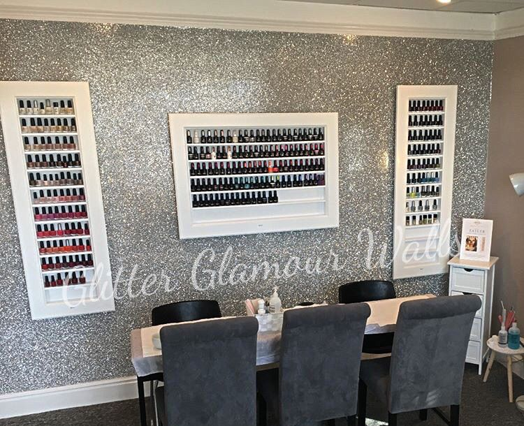 Silver Glitter Wall Nail Salon Wall Coverings Glitter Wall Glitter Wallpaper