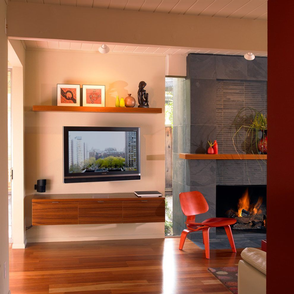 Fireplace Next To Tv Living Room Eclectic With Wall Mounted Tv Slate Fireplace Flat Screen Eclectic Living Room Wall Mounted Tv Mid Century Modern Living Room #wall #mounted #lights #living #room
