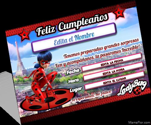 Resultado de imagen de invitaciones de cumpleaños de ladybug para imprimir en español