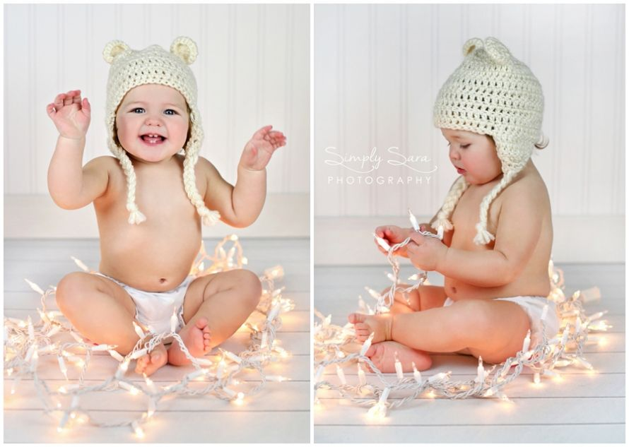 One Year Old Girl Photo Ideas & Poses - White Christmas Lights ...