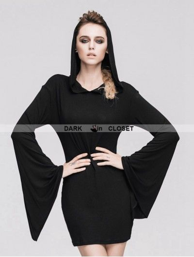 Devil Fashion Black Gothic Witch Sexy Hooded Dress for Women