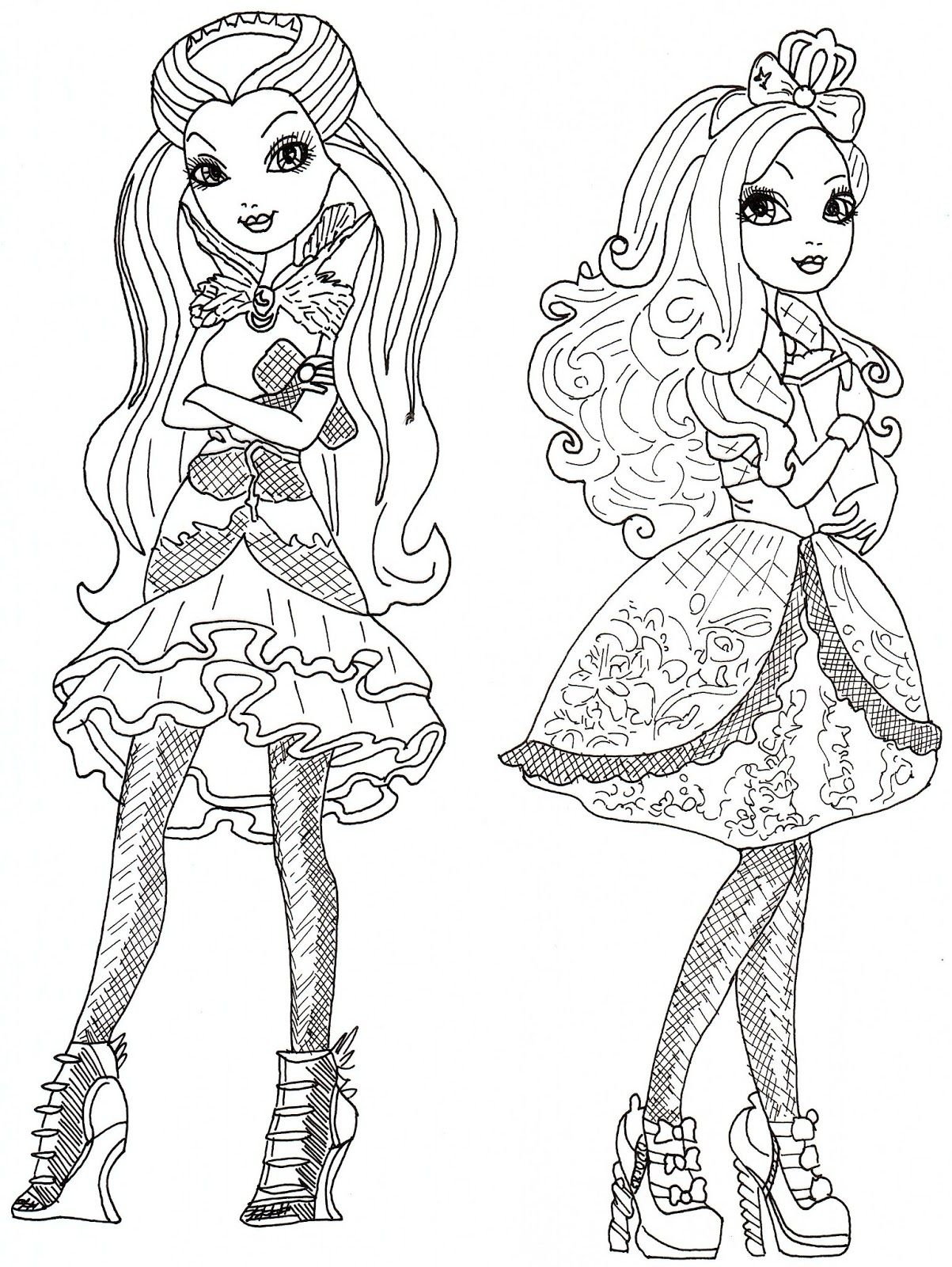 Ever After High Coloring Pages Raven Queen And Apple White