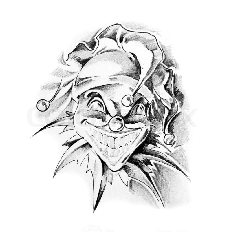 Famous Line Drawing Artists Names : Skizze der tattoo kunst clown joker stock foto