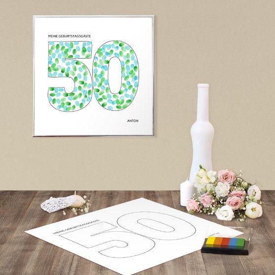 geburtstagsprint 50 leinwand fingerabdruck 400x400 wei 50 geburtstag papeterie karten. Black Bedroom Furniture Sets. Home Design Ideas