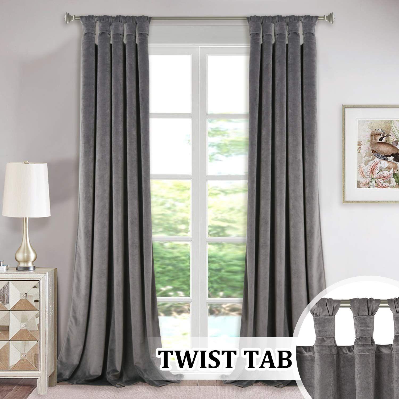 Luxury Velvet Curtains Gray 96 Inch Modern Twist Top Design Super Soft Thick Velvet Drapes Room Darkening Privacy