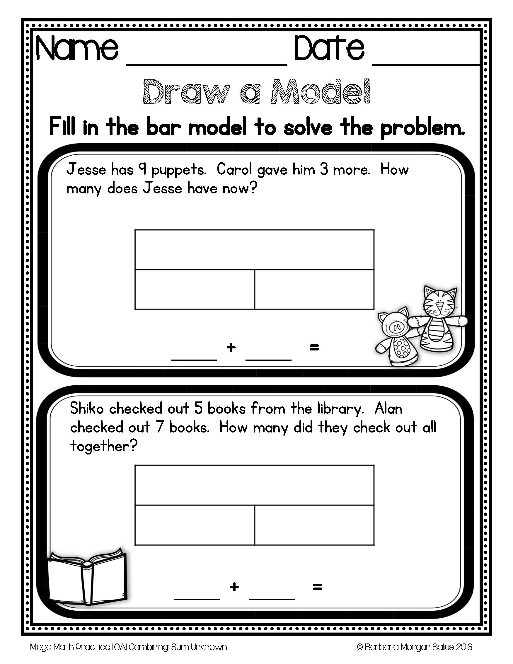 First Grade Math 1.OA.1 Problem Solving Mega Math Practice