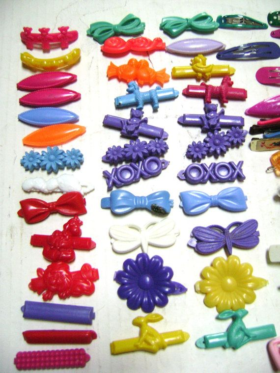 Extra Large Lot Of 55 Vintage Barrettes Little Girls Figural Shapes Poodles Duck Nursery Rhyme Plastic Colorful Fun 80s H Duck Nursery Fun Colors Barrettes