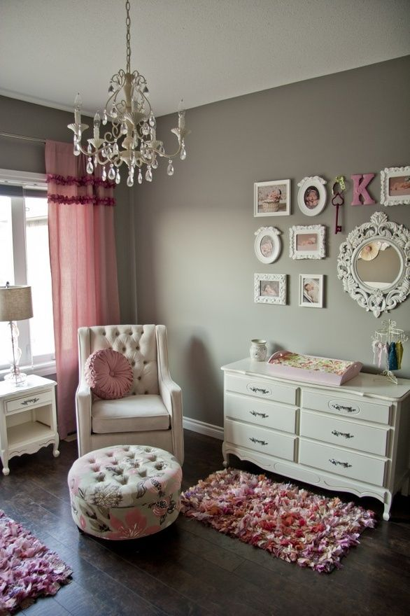 Pretty pink & gray nursery with gallery art chandelier and white furniture - Via http://good-time0.blogspot.com.au/