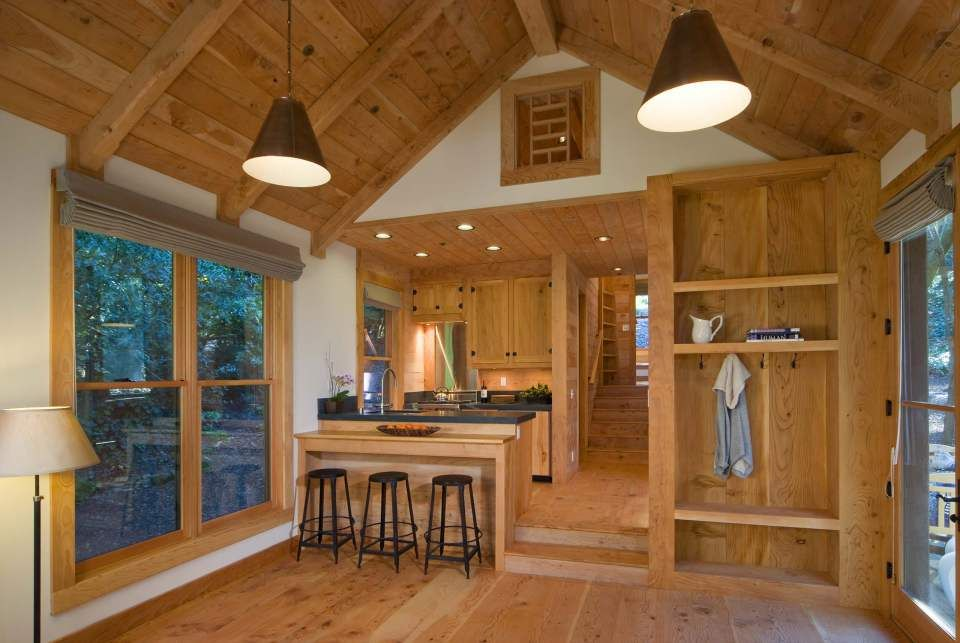This rustic guest cabin features extensive custom interior for Sleeping cabin plans