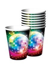 Itu0027s so sweet to boogie on down with Disco Dessert Plates! These small round paper plates feature a print of a psychedelic disco ball.  sc 1 st  Pinterest & Disco Fever Cups 8ct - Party City | Stuff to Buy | Pinterest ...