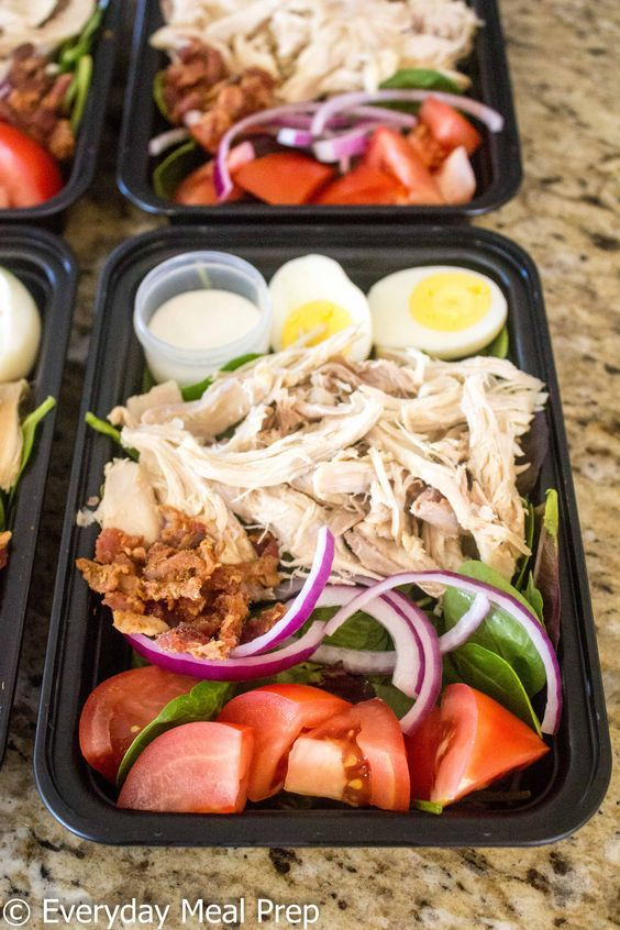 Lunch Recipe | No Cook Meal Prep Chicken Cobb Salad images