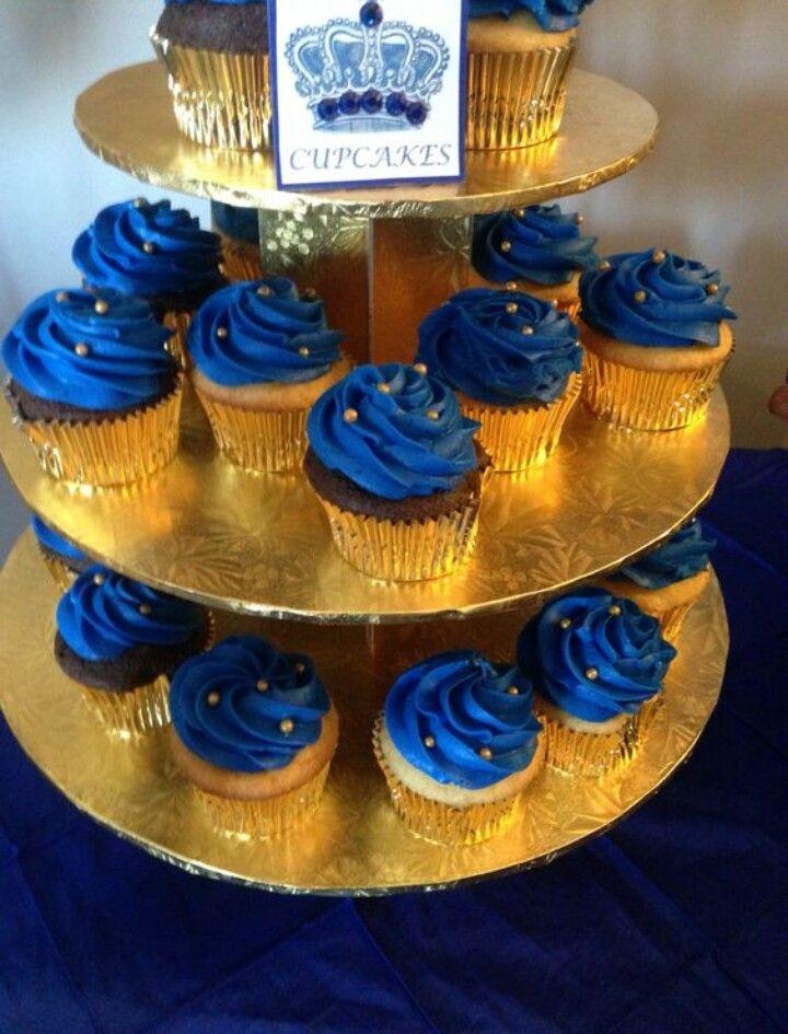 Cupcakes Azul Con Dorado Baby Shower Rey Boy Anniversaire Bebe