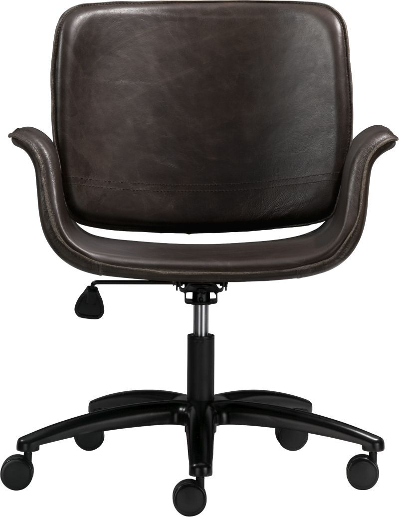 crate and barrel graham leather desk chair