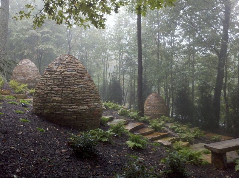 These three egg shaped solid stone cairns sit in a meditation