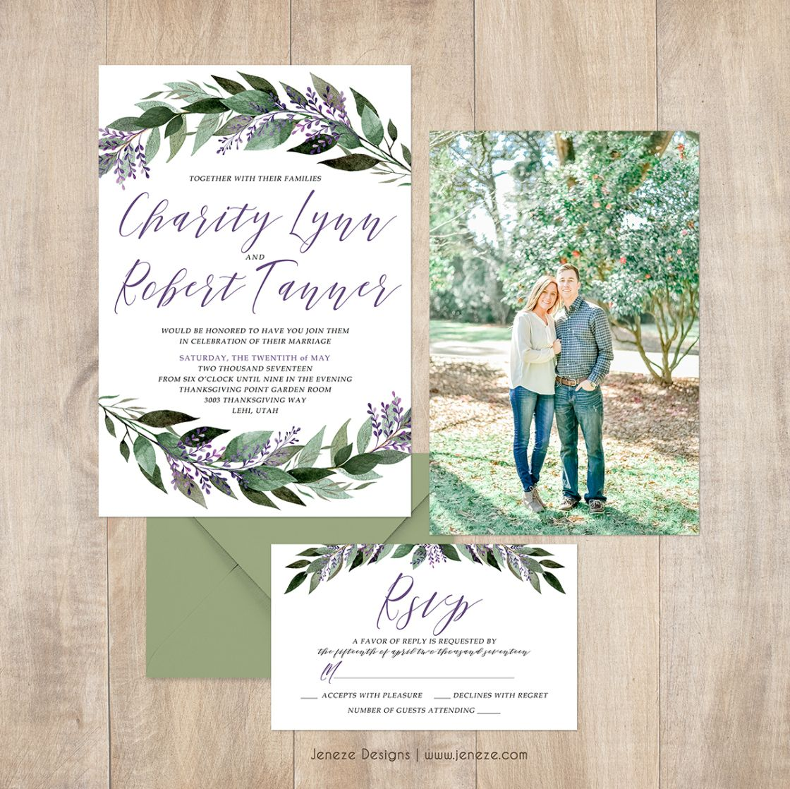 Greenery wedding invitations with a touch of lavender Beautiful