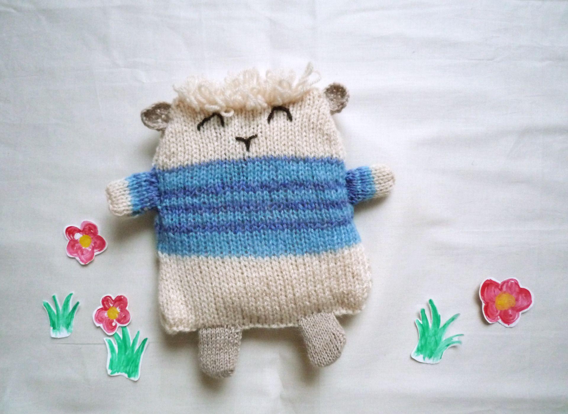 Bouillotte sèche en laine mouton au pull bleu : Soin, bien-être par bleulapin