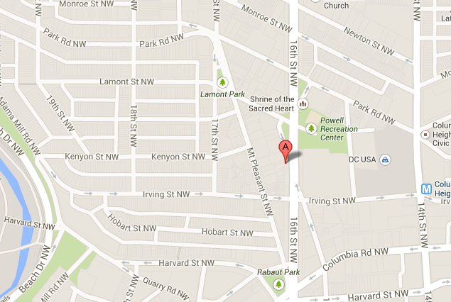 Map Of 3126 16th Street In Northwest Washington Dc Wc Smith Apartments Mount Pleasant Rentals Northwest Washington Mount Pleasant Washington Dc Apartment