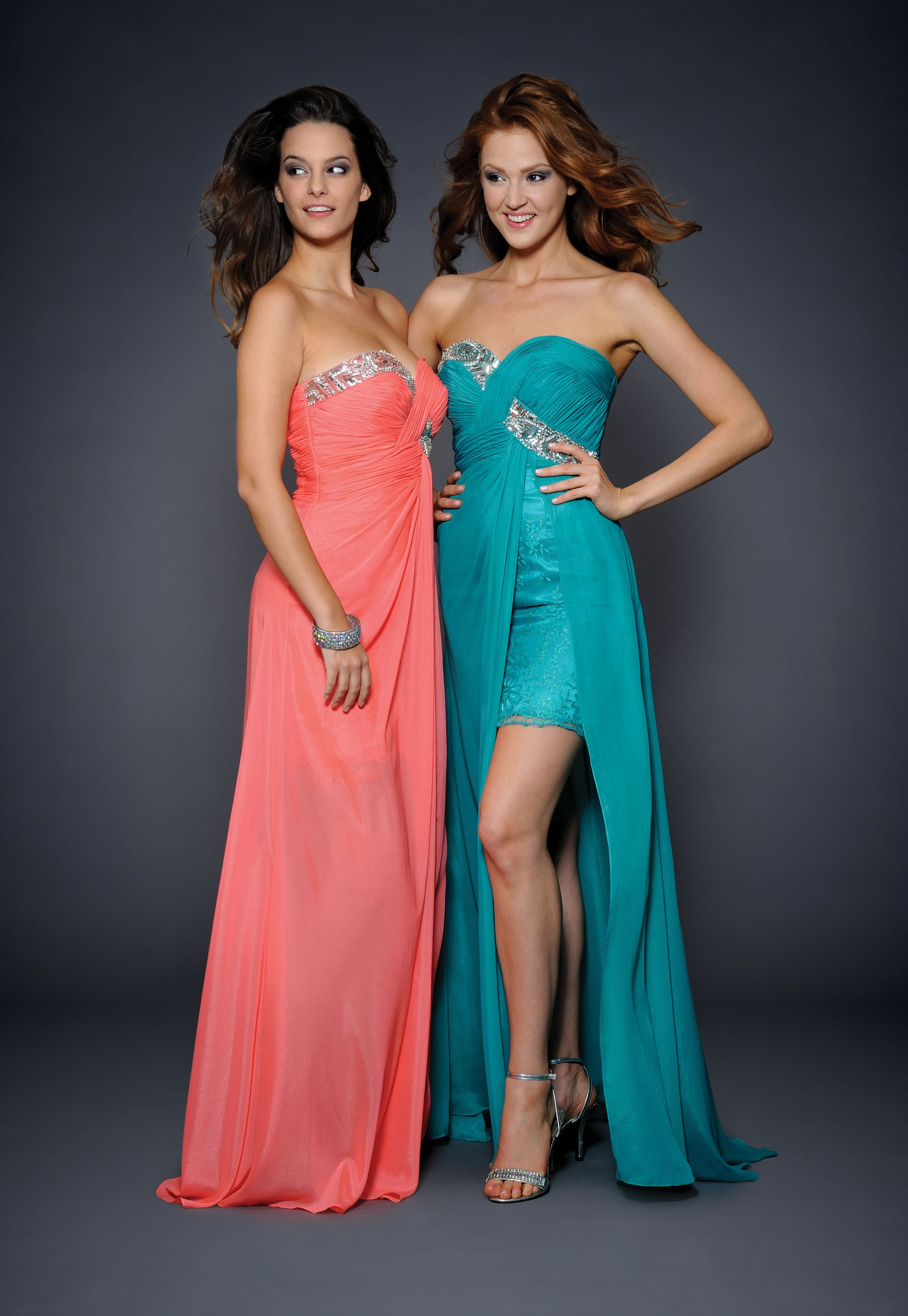30c9469cbf0 coral and teal bridesmaid dresses. This might be fun having like maid of  honor and sisters in one color and other bridesmaids in the other.