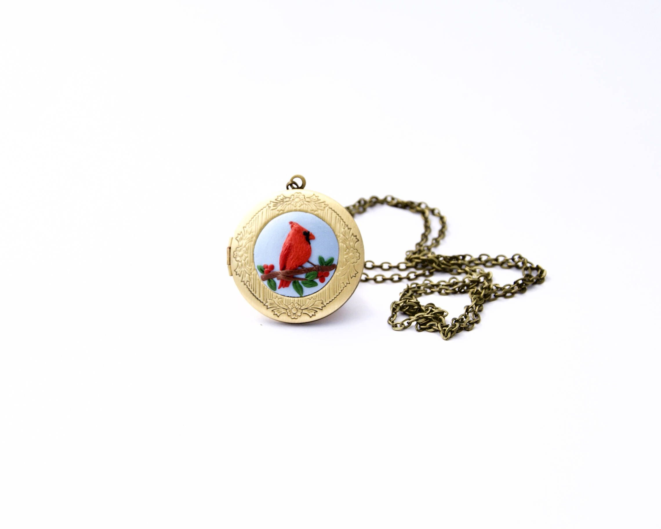 mother pin green inlaid of bird pendant large necklace design berries and cardinal mop pearl leaves red