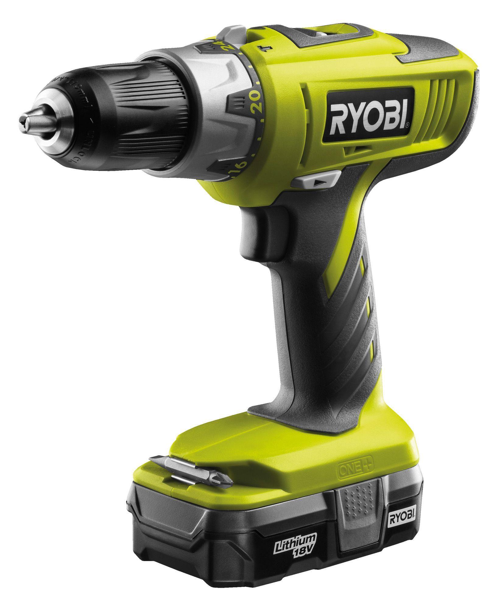 ryobi cordless 18v li ion hammer drill 1 battery llcdi1802. Black Bedroom Furniture Sets. Home Design Ideas