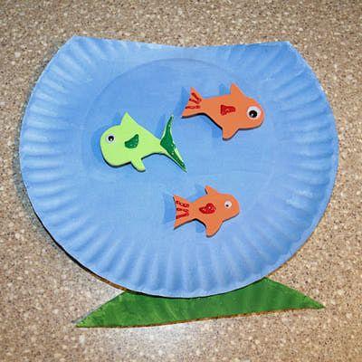 Como hacer una pecera con peces con platos de carton infantil pinterest manualidades - Platos faciles de hacer ...