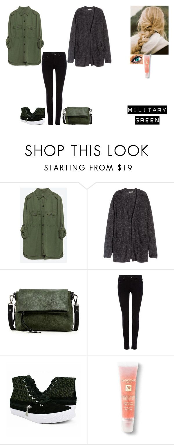 """Attention! Go Army Green"" by ilovecats-886 ❤ liked on Polyvore featuring Zara, H&M, Urban Expressions, Maison Scotch, Burnetie, Lancôme and Gogreen"