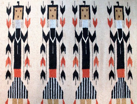 Large Vintage Tribal Warrior Wool Wall Hanging Or Rug By