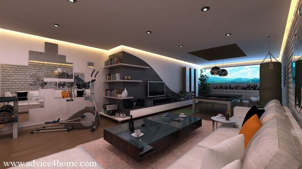 white gray wall and white sofa design game room - Home Media Room Designs