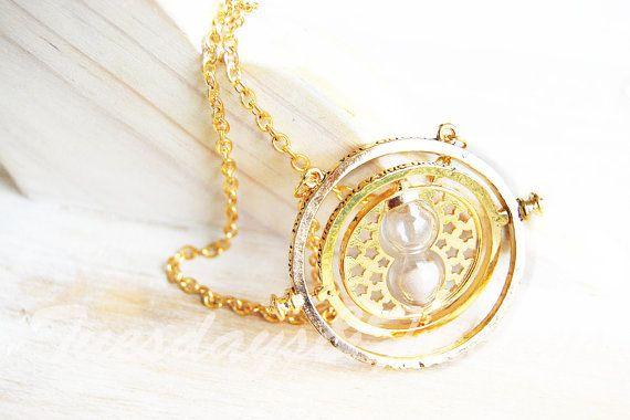 ORIGINAL unique 32-inch Hermione's time turner gold silver twisting hourglass necklace, Harry Potter necklace, jewelry, Gryffindor, ruby