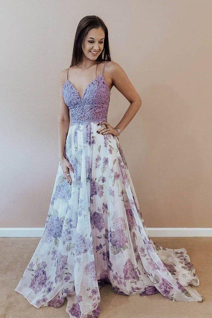 599126de54c Spaghetti Straps A-line Prom Dresses Lace Floral V Neck Purple Formal  Dresses  promdresses  eveningdress  eveninggowns  prom2019  floraldress