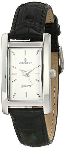 Peugeot Womens Rectangle SilverTone Black Leather Strap Dress Watch 3008SBK *** You can find out more details at the link of the image.