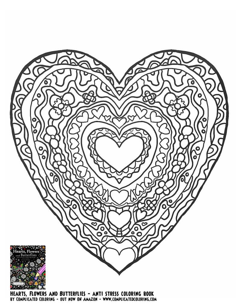 Heart Hearts Coloring pages colouring adult detailed ...
