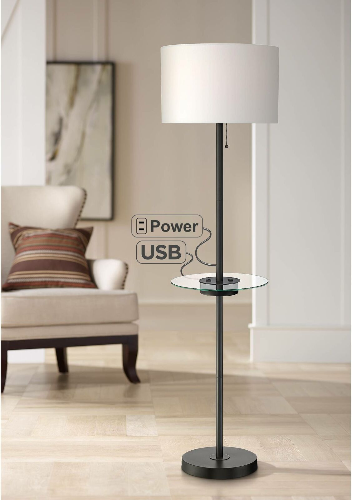 Modern Floor Lamp With Table Usb Outlet Black Living Room Bedroom