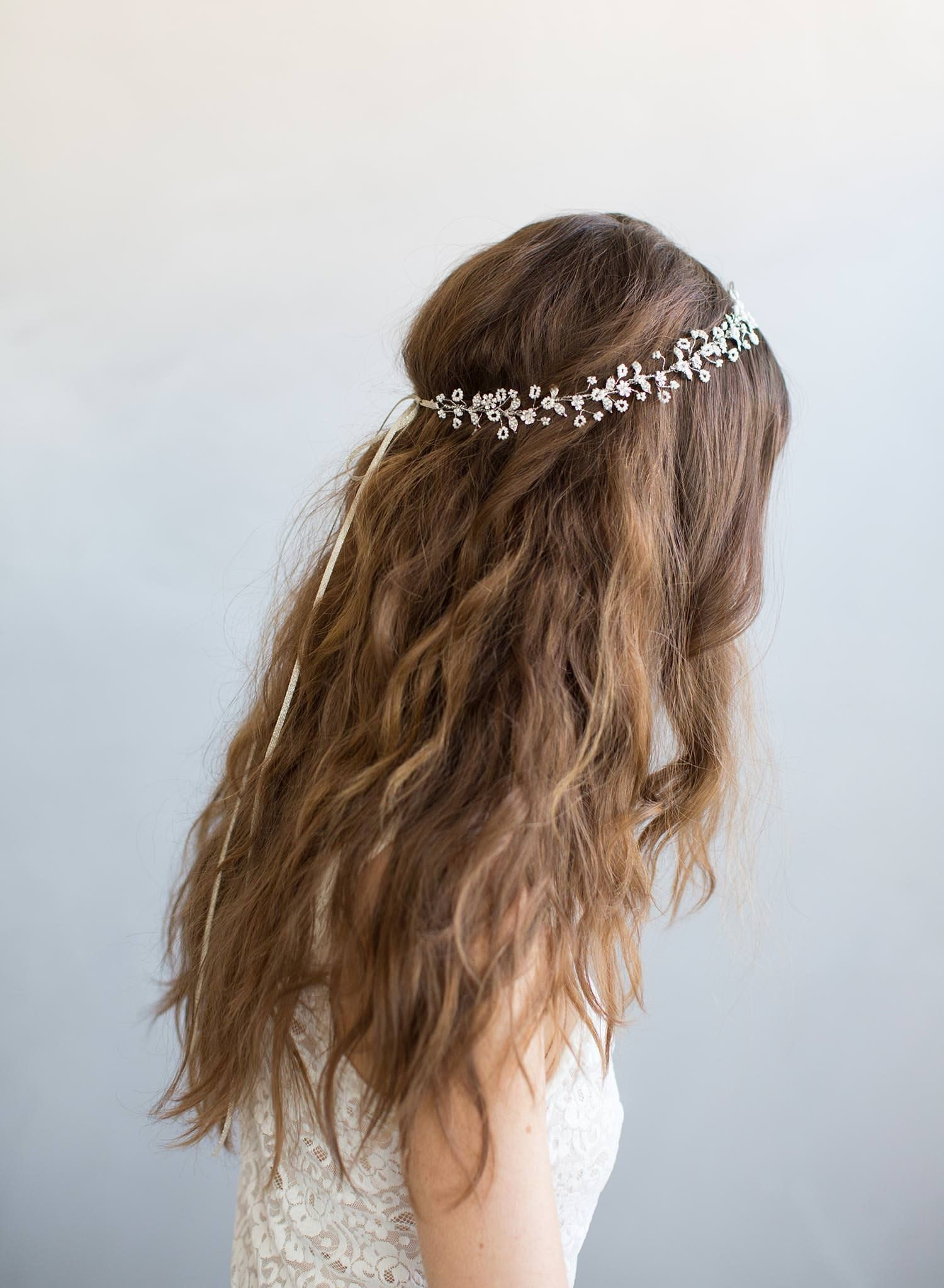 leaves pearls simple hairstyle bridal hair vine crystals flexible curvable hairpin bendable wedding pin