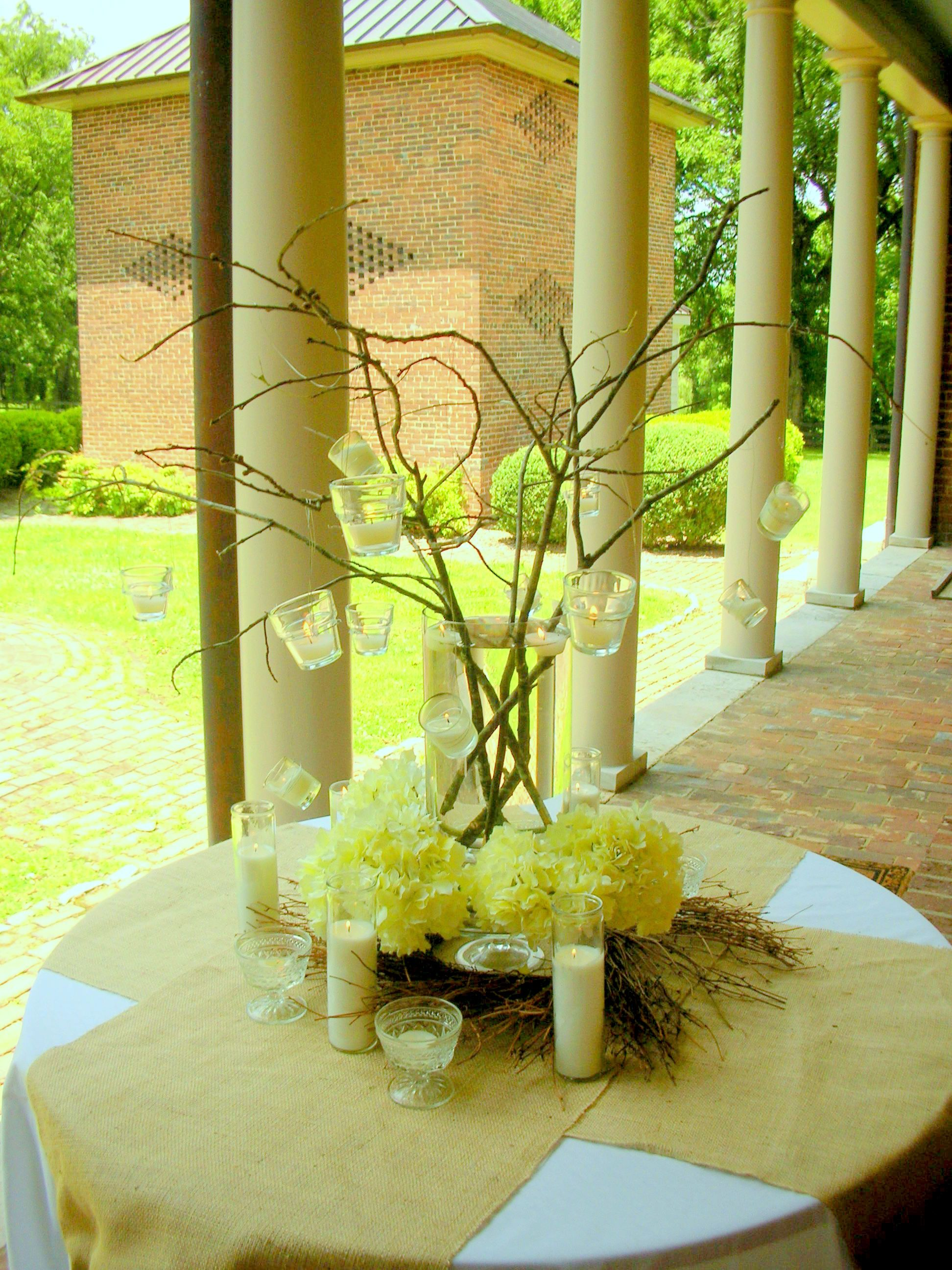 Branches, Hanging Candles and Hydrangea Centerpiece | Clemmie Grace ...