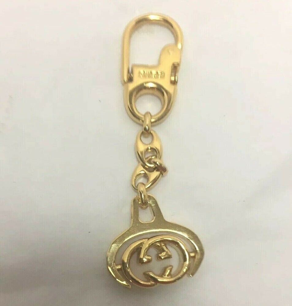 Gucci Italy Key Chain Fob Ring Gold Tone Vintage Spinning