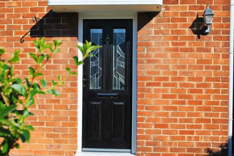 Contemporary Black Altmore composite Door with Zinc Art Abstract ...