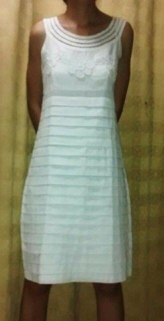 36341154a6 Vestido en lino blanco Vestidos De Lino Blanco