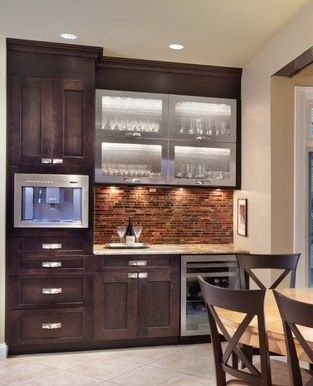 Nice Beverage Bar Built In Coffee Maker Wine Or Drink Fridge Lighted Interior Of Glass Cabine
