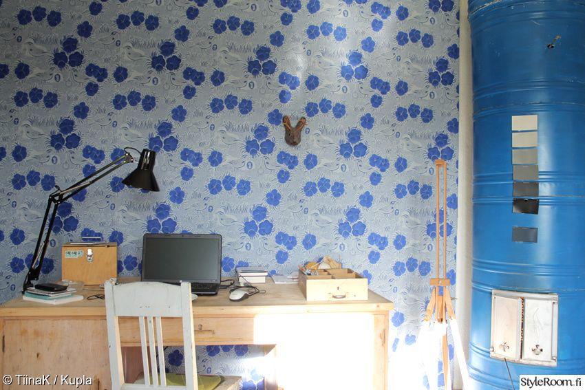kirpputori,sininen,kiurujen yö,työpöytä,Tee itse - DIY,työhuone,tapetti