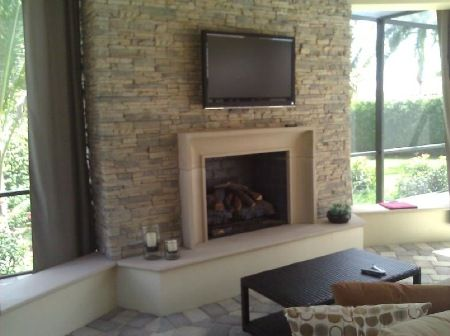 Outdoor Traditional Gas Fireplace With Cast Stone Seating Cast