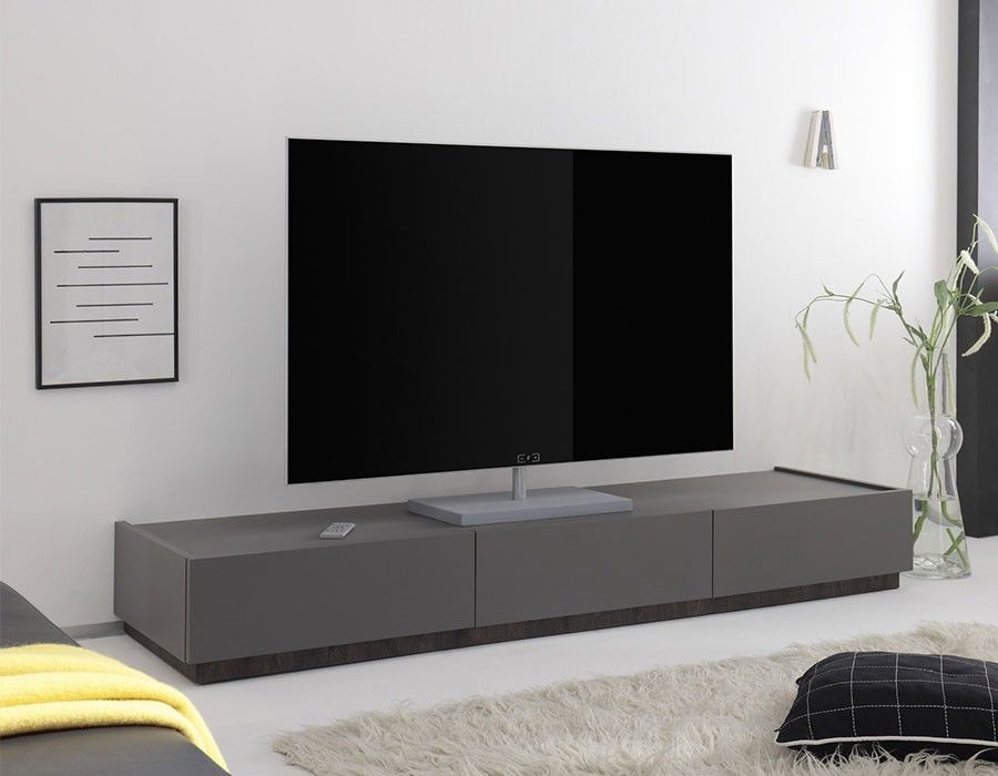 Banc Tv Blanc Ou Gris Laque Mat 3 Tiroirs Brick 3 Mobilier De Salon Mobilier Design Meuble Tv Gris