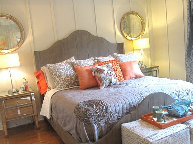 orange and gray bed linens