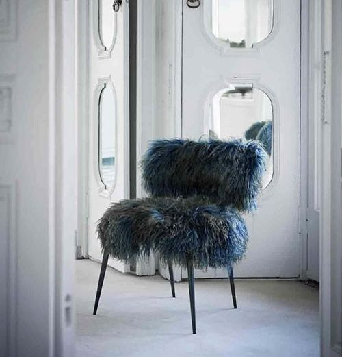 baxter furniture italy -blue islandic sheep skin