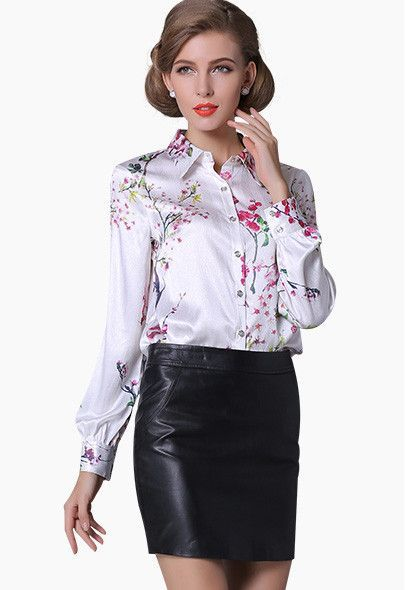 50f7584f746e8 Pure Mulberry SILK blouse Women long sleeve work Brand Print Satin Blusas  femininas Office lady STRETCH Plus size 2016 NEW shirt