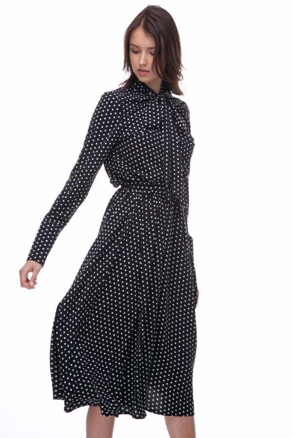 Итальянские мотивы нового элегантного платья миди с бантом в горох от THE  LACE добавят утонченности Вашему 1ced46d0a729c
