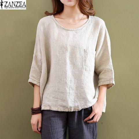 a642f468ff18a9 ZANZEA Retro Womens Crew Neck Cotton Linen Blouses 3 4 Sleeve Pockets  Casual Loose Solid Tops Shirts Blusas Plus Size NEW