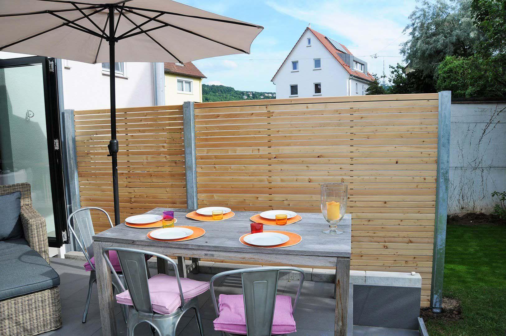 Sichtschutzzaun Holz Metall Verzinkt Larche Hohe Grau Weiss Aus Holz